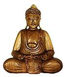 Wooden Handmade Serene Meditating Hands Lap Buddha Art Statue Handcrafted Sculpture Home Decor (16'' Tall)