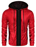 COOFANDY Mens Metallic Nightclub Style Hooded Varsity Baseball Bomber Jacket(S,Red)