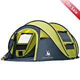 HuiLingYang Outdoor Instant 4-Person Pop Up Dome Tent – Easy, Automatic Setup -Ideal Shelter for Casual Family Camping Hiking (Yellow)