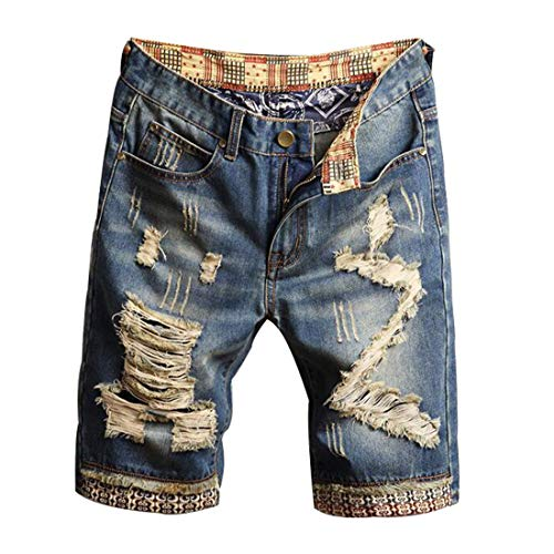 Hzcx Fashion Men's Vintage Slim Fit Distressed Denim Shorts Cut-Off Jean - Distressed Shorts Vintage