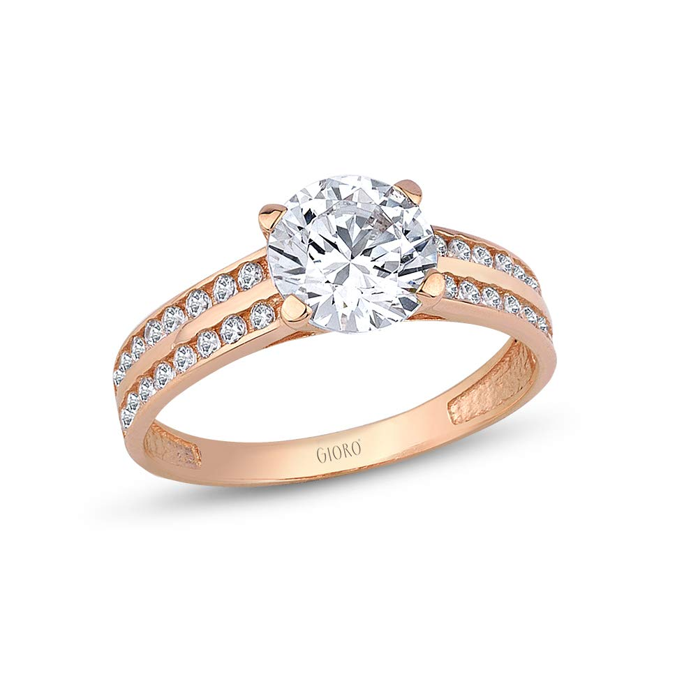 70f2aa775c318 GIORO Marcella Engagement Ring 585 Rose Gold with Swarovski Crystals ...