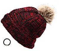 Women's Winter Mixed Two Tone heavy Knitted Pom Pom Beanie Hat with Hair Tie.