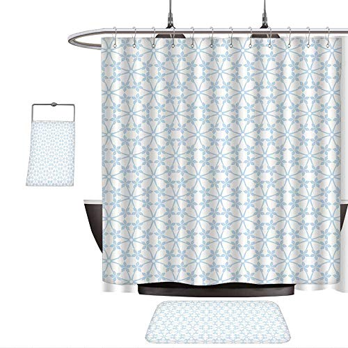 3-piece Bathroom SetHouse Decor Abstract Floral and Dots Pattern Snowflakes Classic Stylish Checkered Design Pattern Blue Light Gray. 1-Shower Curtain,1-Mats 1-Bath towel(Ten sizes select)