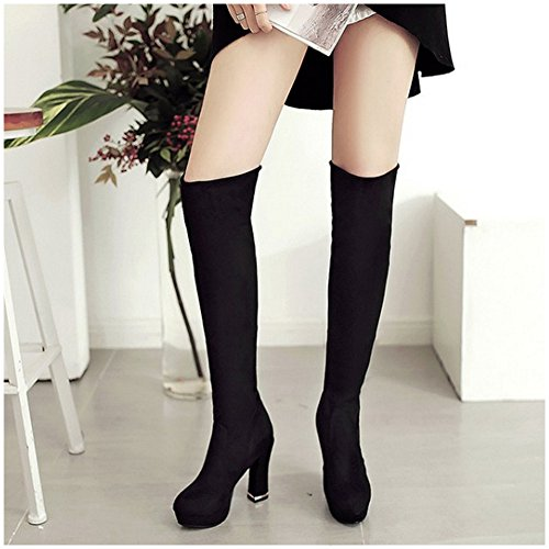 1401 Block Shoes Knee TAOFFEN Black High Autumn Over Women Classical Heel Boots qgSHvg