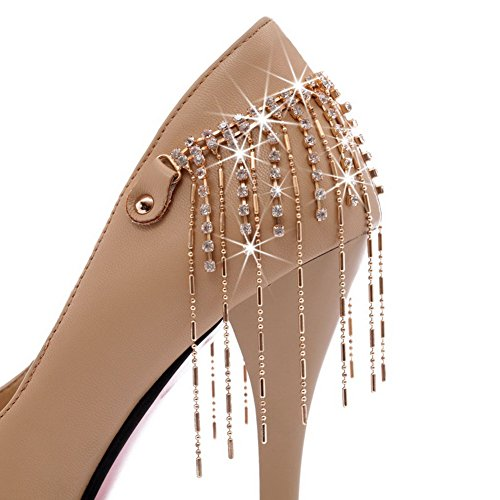 Round Solid UK Womens Material 2 with Pumps Heel High Closed VogueZone009 Soft Toe PU 5 Apricot Stiletto Rhinestones UFwETq