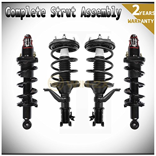 WIN-2X New 4pcs Front+Rear Left & Right Side Quick Complete Suspension Shock Struts & Coil Springs Assembly Kit Fit Honda Civic 02-05 2.0L 3-Door Hatchback 03-05 1.7L 2-Door Coupe/4-Door Sedan (Honda Civic 4dr Cross)