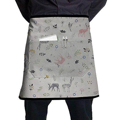Kjiurhfyheuij Half Short Aprons Deer Fun Design Waist Apron With Pockets Kitchen Restaurant For Women Men Server -
