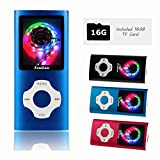 FenQan MP3 Player, MP3 Music Player Portable Metal Body, 16GB Memory Support 32G TF Card, Micro USB Port 1.7'' Colorful Screen, With Multifunction Video, Photo Viewer, FM Radio (16G Blue)