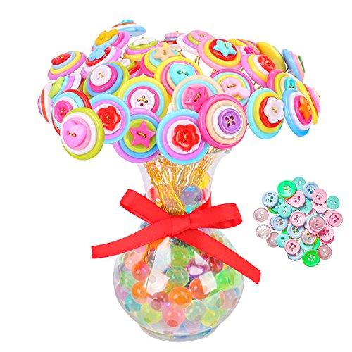 Glass Button Flower Beads - 1