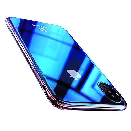 FLOVEME iPhone X XS Case, Luxury Slim Fit Gradual Colorful Gradient Change Color Ultra Thin Lightweight Electroplate Bumper Anti-Drop Clear Hard Back Cover Support Wireless Charging, Transparent Blue