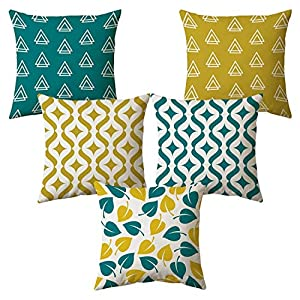 AEROHAVEN Set of 5 Multi Colored Decorative Hand Made Jute Cushion Covers – CC14 – (16 Inch x 16 Inch, Multicolor)