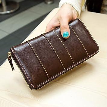 Señoras coreanas zip alrededor monedero monedero de cuero ...