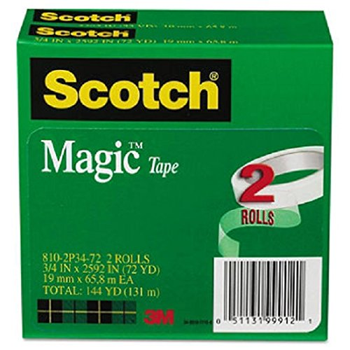 Scotch Magic Tape, 3/4 inch x 2592 inch, 3 inch Core, 2/Pack -  810-2P34-72