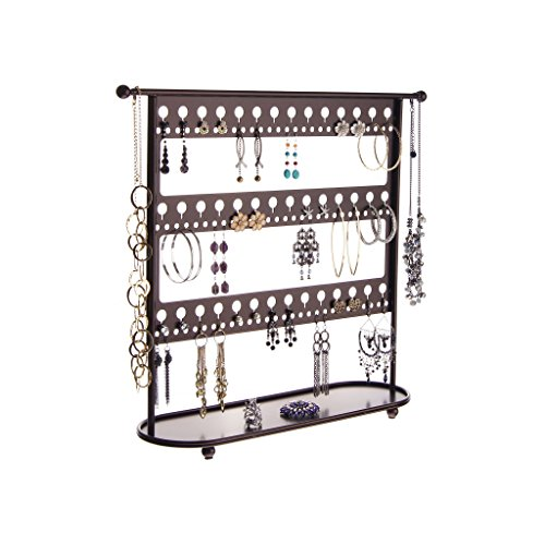 Jewelry Organizer Stand Earring Holder Organizer Hanging Necklace Tree Storage Rack Tray, Laela Rubbed Bronze by Angelynn's Jewelry Organizers