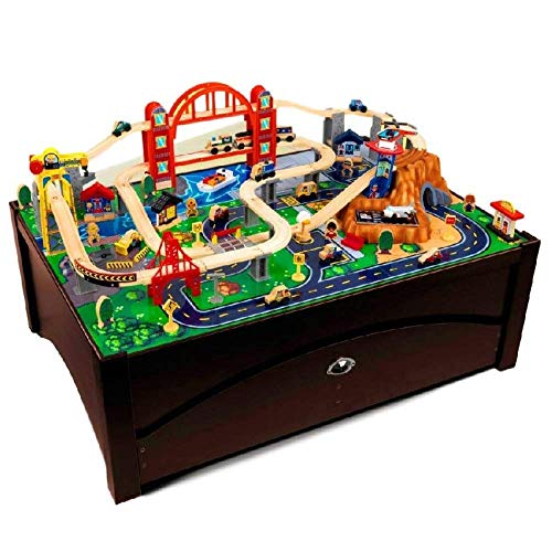 BS Wood Train Table Set for Kids with Trundle Drawer 100 Piece 3 Υears and Up Whole City Drive-Through Tunnel Airport Car Storage Space Child's Room Decor Fun Playtime & eBook by BADA Shop