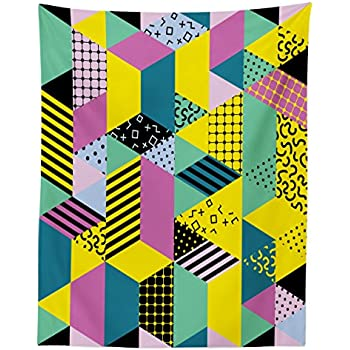 Lunarable Geometric Tapestry Twin Size, Memphis Hipster Pattern Abstract 80s and 90s Period Inspired Geometric Shapes, Wall Hanging Bedspread Bed Cover Wall Decor, 68