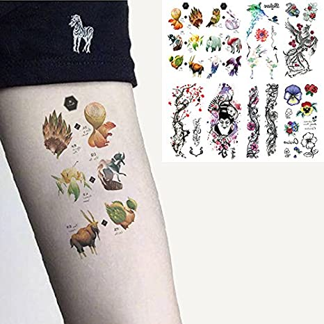 3275a1def Amazon.com : Oottati 8 Sheets Temporary Tattoo 3D Stickers Hand Ankle Hand  Paint Animal Zoo Flower Tiger Crane Owl Wolf Fox Phoenix Geisha : Beauty
