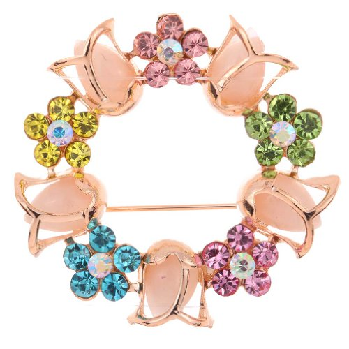YAZILIND Jewelry Tulip Flower Shape Colorful Cubic Zirconia Brooches and Pins for Women