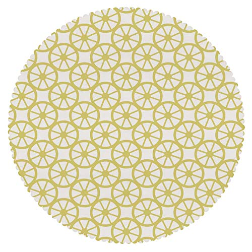 Peel Lemon Baseball (Beautiful Round Tablecloth [ Circle Decor,Bicycle Bike Wheel Orange Lemon Peel Like Circles Modern Image Art Print Decorative,Golden and White ] Decorative Ideas)