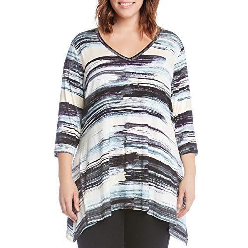 (Karen Kane Plus Women's Plus Size Brushstroke 3/4 Sleeve Tee Print)