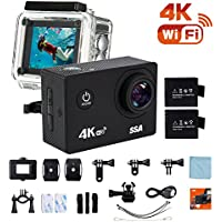 SSA 4K WIFI Sports Action Camera Ultra HD Waterproof DV Camcorder 12MP 170 Degree Wide Angle Include Waterproof Case,2pcs Batteries and Full Accesspries Kits