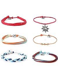 JOERICA 6PCS Friendship Bracelets for Women Girls Handmade Braided Rope Bracelet Set Multilayer Wax Cord Adjustable