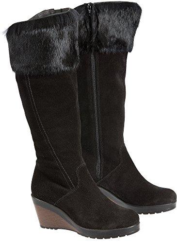 Co Waterproof Suede Boot - Overland Sheepskin Co Women's Hershey Wool-Lined Waterproof Suede Boots with Rabbit Fur Trim