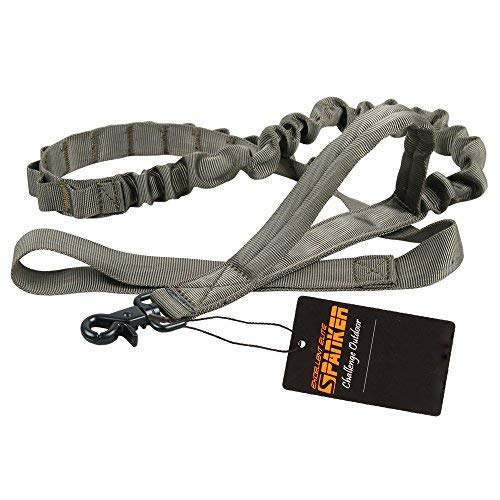EXCELLENT ELITE SPANKER Tactical Bungee Dog Leash Military Adjustable Dog Leash Quick Release Elastic Leads Rope with 2 Control Handle(Ranger Green)