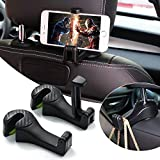 Car Hooks, Car Seat Headrest Hooks with Phone Holder, Universal Car Headrest Hooks Hanger with Lock and Phone Bracket for Holding Cell Phones and Hanging Bag, Purse, Cloth-2 Pack