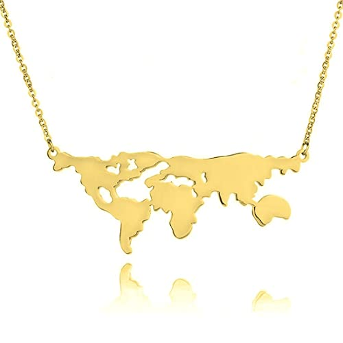 Amazon stainless steel world map necklace world continents stainless steel world map necklace world continents jewelry travel gift for women men world map gumiabroncs Image collections