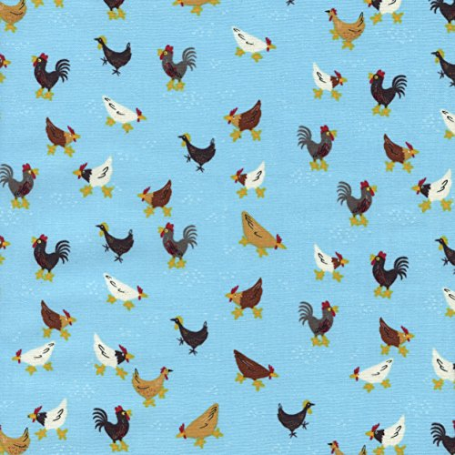 Timeless Treasures Little Farm Chickens Aqua Fabric