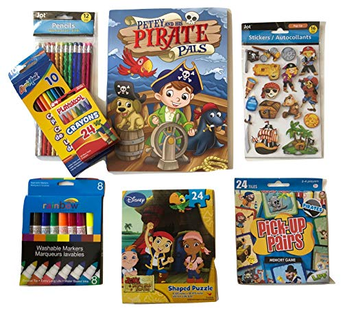 Arts and Crafts For Kid's; Pirates Activities; Jake and the Neverland Pirates Puzzle, Petey The Pirate Coloring Book, Pop-up Stickers, Pick-up Pairs Game, Colored Pencils, Shiny Pencils; 8-pc