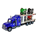 Friction Powered Transporter Truck With 4 Motorcycles Toy For Kids! (colors may vary)