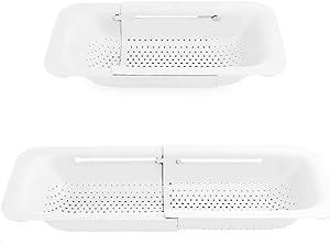 Extendable Strainer Basket Over the Sink Colander Vegetables Noodle Pasta Food Drain Basket Space Saver Portable Drainer (White)