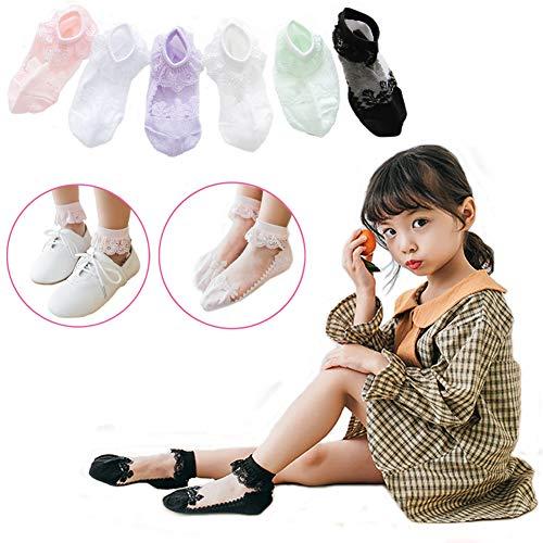 - Princess Cute Socks for Girls, Colorful Lace Socks Girls, Cotton Ruffle Socks Kids 0-12T, Pack of 5/6 (Laced x 6, XXL)
