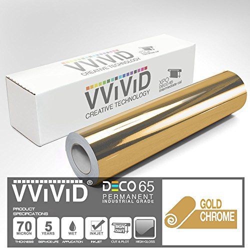 VViViD Chrome Gold Gloss DECO65 Permanent Adhesive Craft Vinyl for Cricut, Silhouette & Cameo (300ft x 11.8'' Master Roll) by VViViD