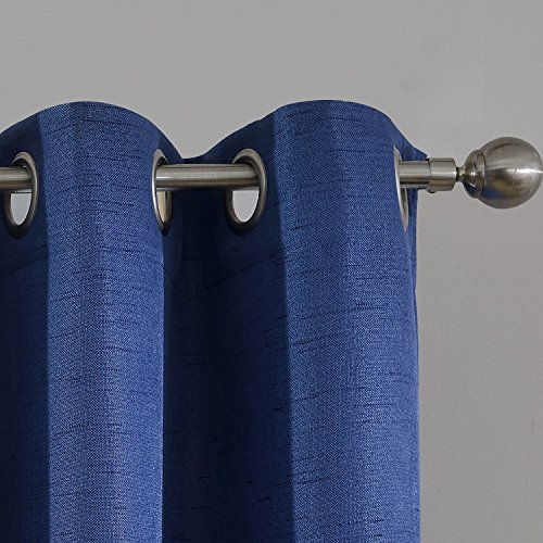 Stylish Linen Texture Blackout Curtains for Sliding Glass French Patio Door - Set of 2 Panels - Room Darkening Thermal Insulated Window Treatment Drapes,52 Inch Wide x 96 Inch Long,Navy,Grommet Top - 2 Door Linen