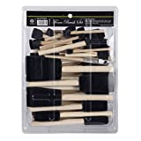 CONDA 50-Piece Assorted Foam Brush Set Wood