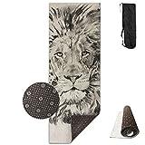 Sketch Fun Lion Animal Yoga Mat All-Purpose Premium Print, Non Slip Exercise Fitness for All Types of Yoga, Pilates & Floor Exercises