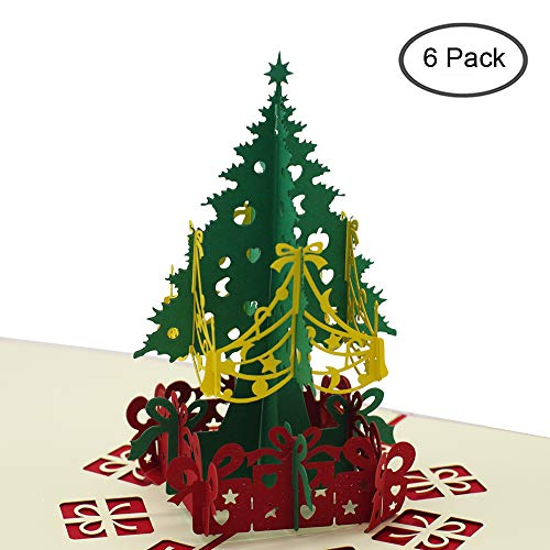 Christmas Tree 3D Pop Up Greeting Cards, Handmade Merry Christmas Tree Village Laser Cut Card With Envelope for Xmas and Happy New Year, Holiday Card (6) (Merry Christmas And Happy New Year Greeting Card)