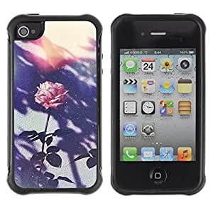 Suave TPU GEL Carcasa Funda Silicona Blando Estuche Caso de protección (para) Apple Iphone 4 / 4S / CECELL Phone case / / Retro Photo Pink Flower /