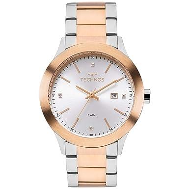 Relógio Feminino Technos Analógico Com Cristais Swarovski 2115Mkp 5K Dourado  Prata a2ef82ebae