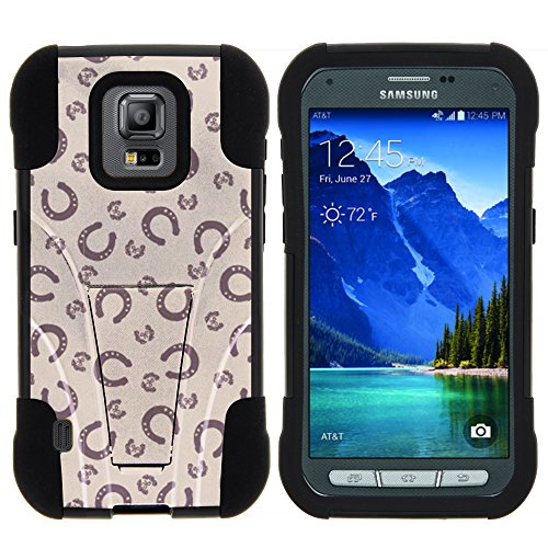 Galaxy S5 Active Case, Full Body Fusion STRIKE Impact Kickstand Case with Exclusive Illustrations for Samsung Galaxy S5 V Active (AT&T) from MINITURTLE | Includes Clear Screen Protector and Stylus Pen - Horse Shoe Pattern