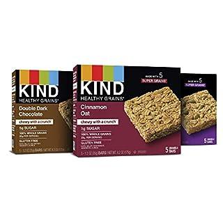 KIND Healthy Grains Bars, Double Dark Chocolate, Cinnamon Oat and Maple Pumpkin, 5 Count (3 Pack)