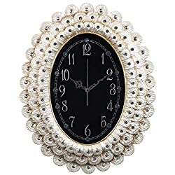 ZJART Wall Clock Peacock Feathers Diamond Design W14H17 Inch Battery Powered Non Ticking Perfect Unique White Oval Frame for Living Room Bedroom Office Bar Hotel Decorative