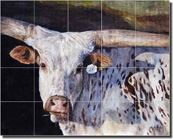 No 19 by Debbie Hughbanks Longhorn Steer Ceramic Tile Mural 17 x 21.25 Kitchen Shower Backsplash