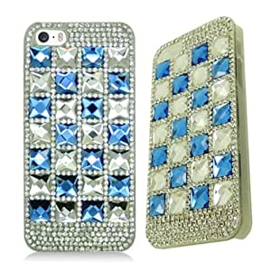 APPLE IPHONE 5 5S SILVER BLUE CHECKER BLING GEM COVER PREMIUM HARD CASE from [ACCESSORY ARENA]