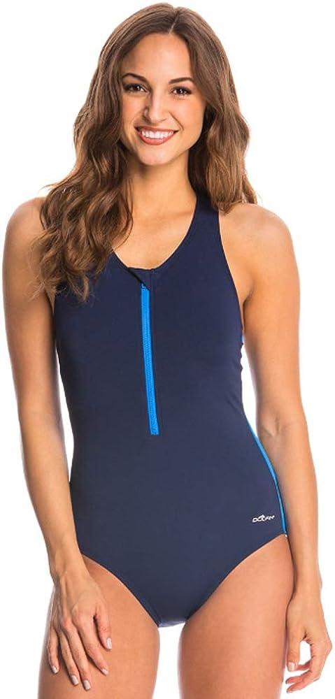Dolfin Womens Zip-Front Racerback Solid ONE-Piece Swimsuit