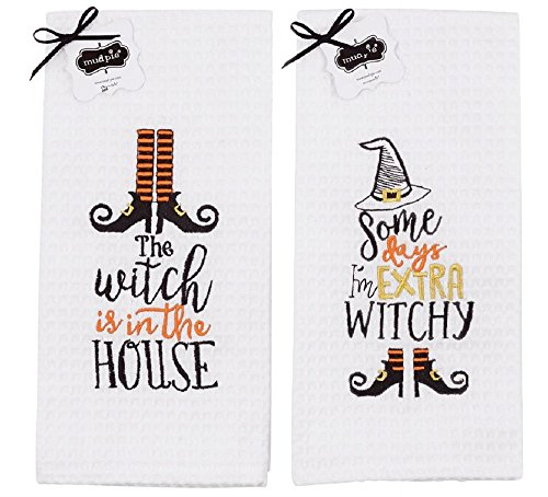 Mud Pie Witch Themed Halloween Waffle Weave Towels - Set of 2]()