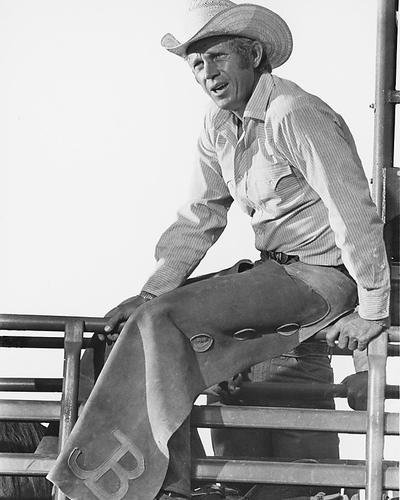 Steve McQueen 8x10 Promotional Photograph sitting on fence as Junior Bonner
